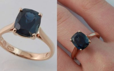Sapphire and rose gold engagement ring