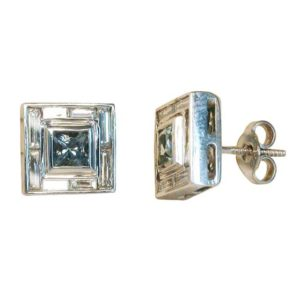 aquamarine and diamond studs, aquamarine earrings, diamond earrings, square earrings, Abrecht Bird, Abrecht Bird Jewellersq