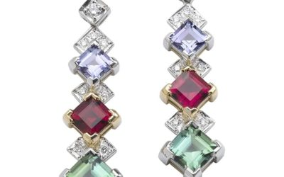 115320 : Tourmaline, Tanzanite & Diamond Drop Earrings