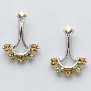 Citrine and peridot crescent and bar drop studs in 18 carat yellow and white gold.