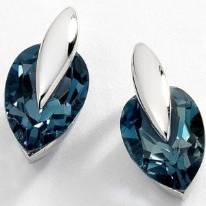 Fancy tear-drop shape 'London Blue' topaz 9 carat white gold stud earrings.