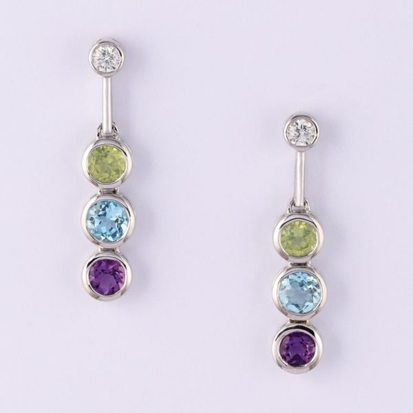 18 carat white gold diamond, peridot, blue topaz and amethyst earrings