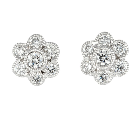 Mille-grain diamond set cluster stud earring in 18 carat white gold.