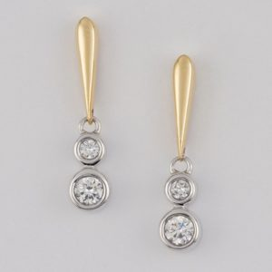18 carat yellow and white gold diamond drop earrings.