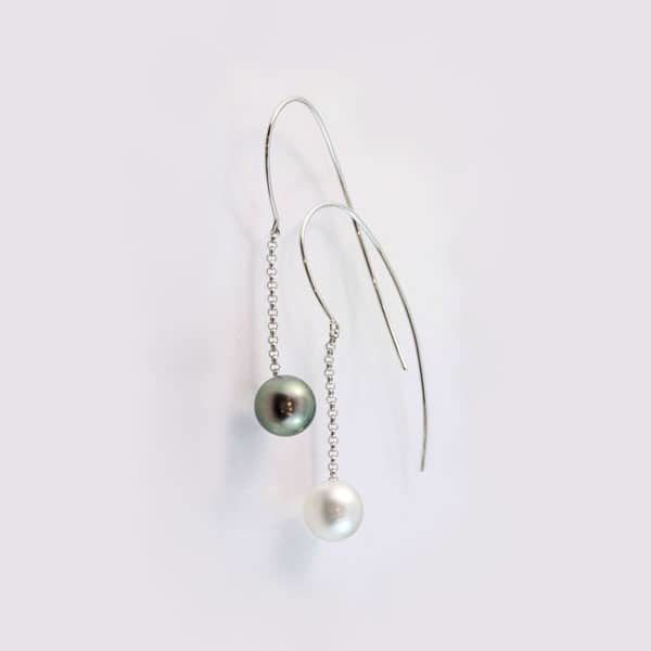 9 carat white gold black and white south sea pearl hook earrings