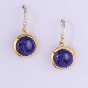 9 carat yellow gold lapis lazuli and diamond drop earrings