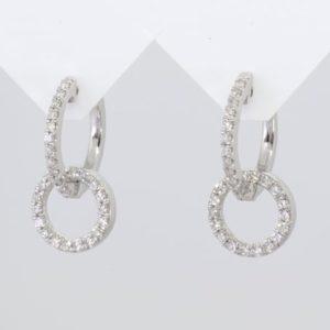 9 carat white gold diamond circular drop earrings