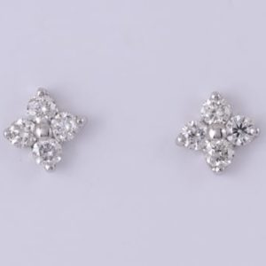 9 carat white gold diamond flower stud earrings