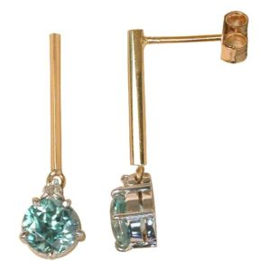 5 claw blue zircon and diamond bar drop studs.
