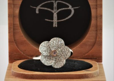 Argyle pink diamond ring, custom made jewellery, design your own ring, pink diamond flower ring