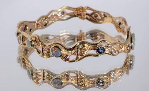 Australian gemstone bracelet, hand made opal bracelet, 'Straya' bracelet, custom made bracelets, designer jewellery, custom made designs, Australian gemstone bracelet, Greg John, Abrecht Bird Jewellers