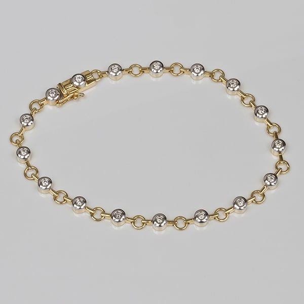 gold diamond bracelet, round link diamond bracelet, two tone bracelet, two tone diamond bracelet