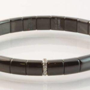 Black ceramic and 18 carat white gold diamond set bracelet