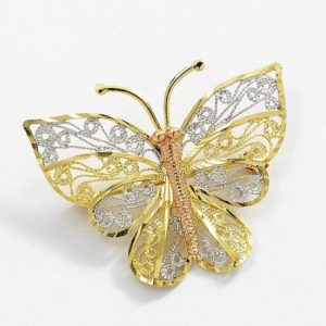 Multi tone butterfly brooch