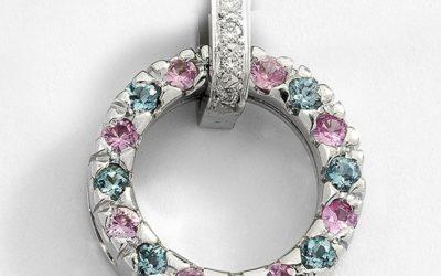 116170 : Pink Sapphire, Aquamarine & Diamond Pendant