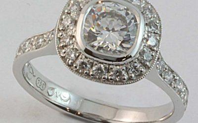 118327 : Cushion-shaped Grain Set Diamond Engagement Ring