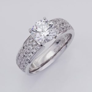 18ct white gold hand crafted multi diamond ring with a 1.50ct centre.