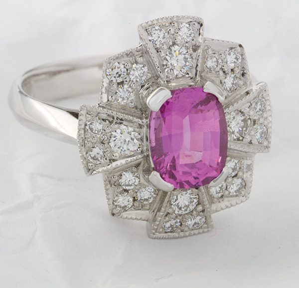 Eleanor Hawke, Eleanor Hawke jewellery, custom made jewellery, unique jewellery designs, pink spinel and diamond ring, pink sapphire and diamond ring, art deco style ring, coloured gemstone ring, Abrecht Bird, Abrecht Bird Jewellers