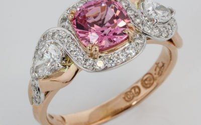 Hand made unique cushion cut pink spinel and diamond ring