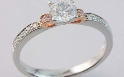 119661 : Pink & White Diamond Engagement Ring