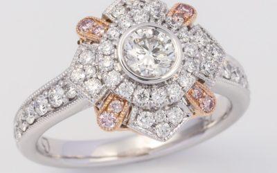 119757 : Pink & White Diamond Engagement Ring