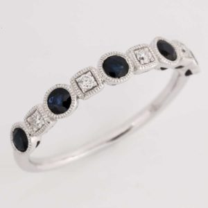 9 carat white gold sapphire and diamond ring