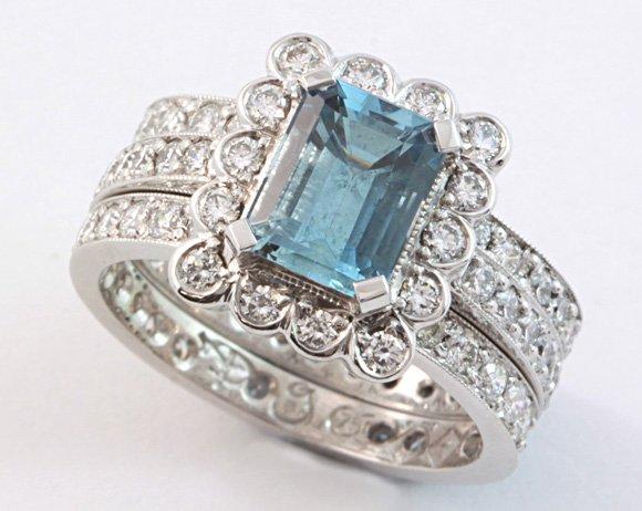 aquamarine engagement ring, aquamarine and diamond ring, Abrecht Bird Jewellers, hand made rings, quality jewellery, aquamarine ring