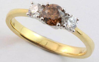 120111 : Two Tone Cognac & White Diamond Engagement Ring
