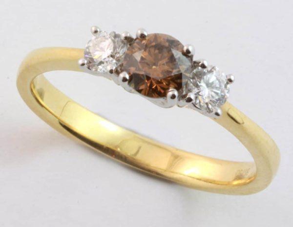 cognac diamond ring, chocolate diamond ring, three diamond ring, Abrecht Bird, Abrecht Bird Jewellers