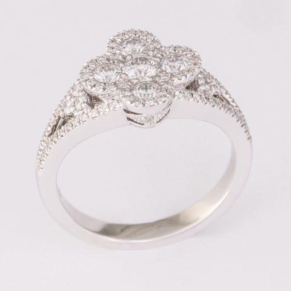 diamond floral ring, Abrecht Bird Jewellers, multi diamond ring