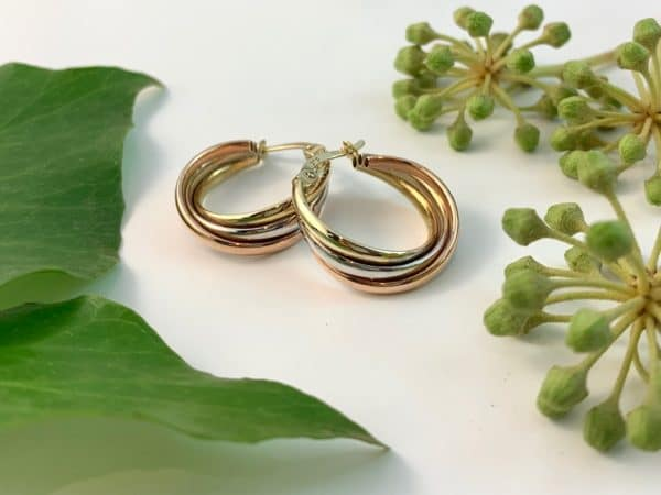 twist hoop earrings, three tone earrings, hoop earrings, rose gold earrings, white gold earrings, yellow gold earrings, twist earrings, three gold earrings
