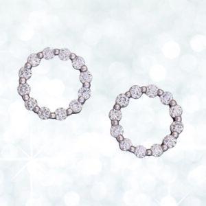 Abrecht Bird, circle diamond earrings, diamond earrings, diamond studs, studs, earrings, white gold, white gold earrings