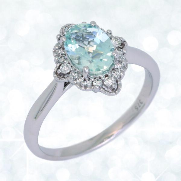 Abrecht Bird, aquamarine ring, aquamarine, diamond, diamond ring, blue stone ring, aquamarine halo ring, aquamarine cluster ring,