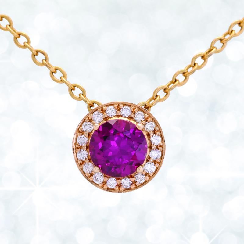 garnet pendant, rhodolite, garnet, garnet and diamond pendant
