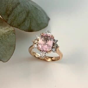 Morganite, diamond, morganite ring, hand made, cushion morganite, rose gold morganite ring, hand crafted, Abrecht Bird, Abrecht Bird Jewellers