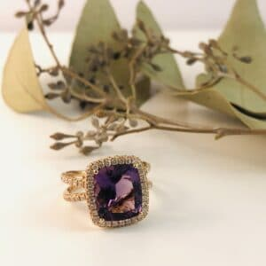 Abrecht Bird Jewellers, Amethyst, Diamonds, Cushion Cut Amethyst, Amethyst Ring, Rose Gold Ring, Purple, Square Ring
