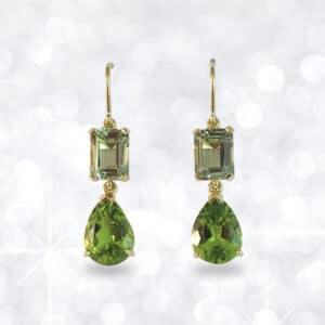 peridot, mint quartz, quartz, peridot earrings, quartz earrings, gold earrings, drop earrings,
