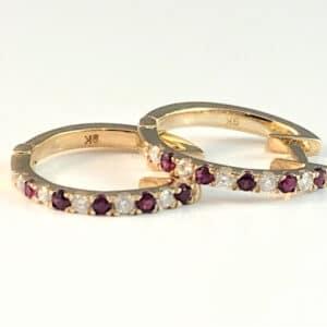 ruby, diamond, ruby and diamond earrings, gold earrings, ruby hoops