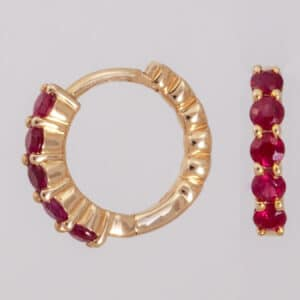 ruby, earrings, ruby earrings, ruby hoop earrings, hoops, red